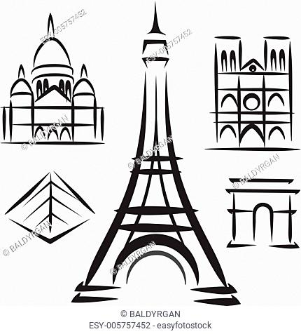 Paris architecture, set of vector symbols