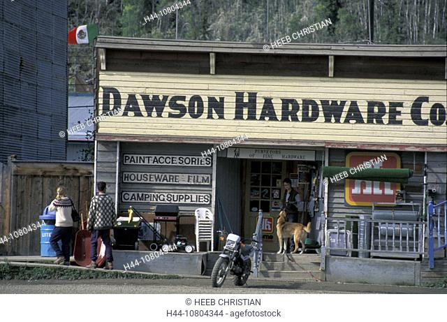 business, Canada, North America, America, customer, Dawson city, Hardware store, loading, outside, store, trade, woo