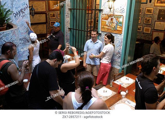 La Bodeguita del Medio is a typical restaurant-bar of Havana It is very famous & touristy for the personalities, La Habana, Cuba