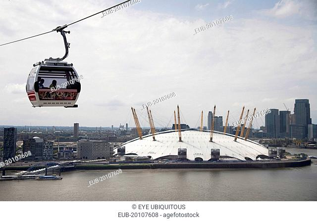 View from Emirates Airline cable car with O2 Millennium Dome visible