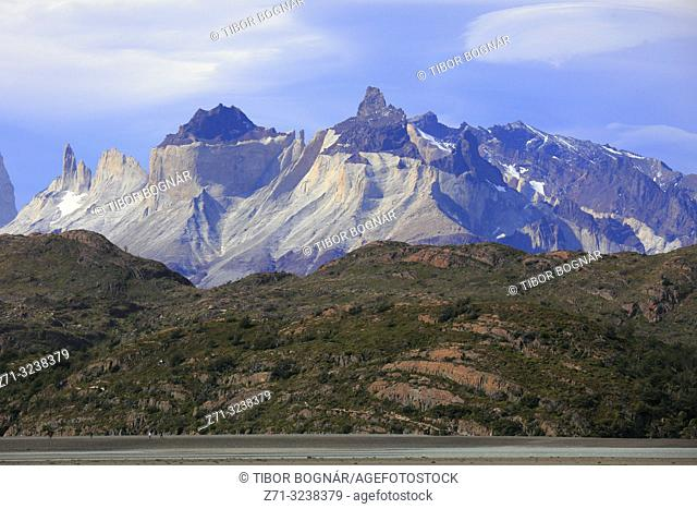 Chile, Magallanes, Torres del Paine, national park, Cuernos del Paine, Lago Grey,