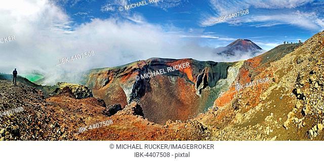 Panoramic view of Red Crater and volcanio Mount Ngauruhoe, Tongariro National Park, Manawatu-Wanganui, North Island, New Zealand