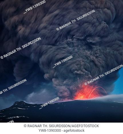 Ash plume from the Eyjafjallajokull eruption Large ash plume with lava from Eyjafjallajokull Volcanic Eruption, April 2010