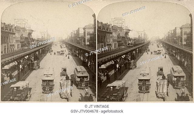 Street Scene, Bowery, New York City, USA, Along the Noted Bowery, New York USA, Stereo Card, 1896
