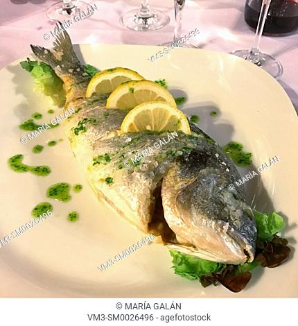 Grilled sea bass with lemon and parsley sauce
