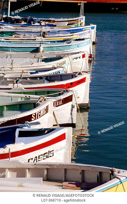 Painted boats in the Port of Cassis. Cassis. France