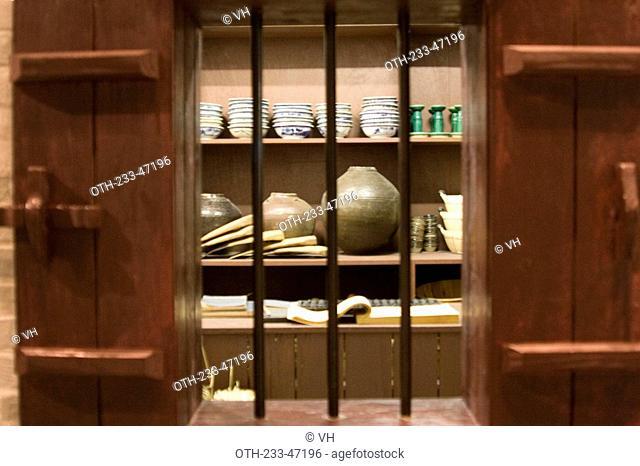 Exhibit of old ceramic wares shop at Hong Kong Heritage Museum, Shatin, Hong Kong