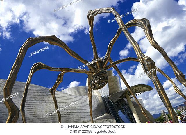 Bourgeois's Maman sculpture at Guggenheim Museum, Bilbao, Biscay, Basque Country, Euskadi, Euskal Herria, Spain, Europe