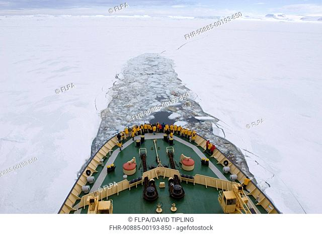 'Kapitan Khlebnikov' icebreaker with tourists, breaking through pack ice, Weddell Sea, Antarctica, november