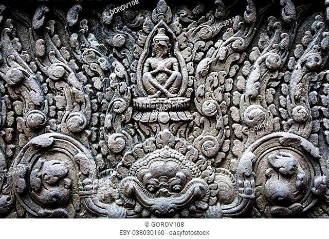 Khmer architecture in Banteay Srei temple that was built in 968, Siem Reap, Cambodia