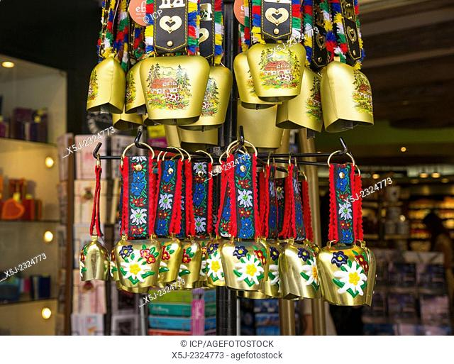 Cow bells on sale outside a gift store in Chamonix, French Alps, France, Europe