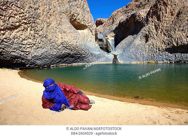 Niger, Agadez region, Aïr Mountains, Timia village and oasis, waterfall