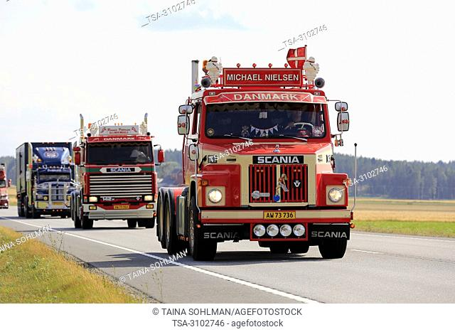 LUOPAJARVI, FINLAND - AUGUST 9, 2018: Classic Scania LS 141 1978 of Michael Nielsen and more oldtimer trucks in truck convoy to Power Truck Show 2018