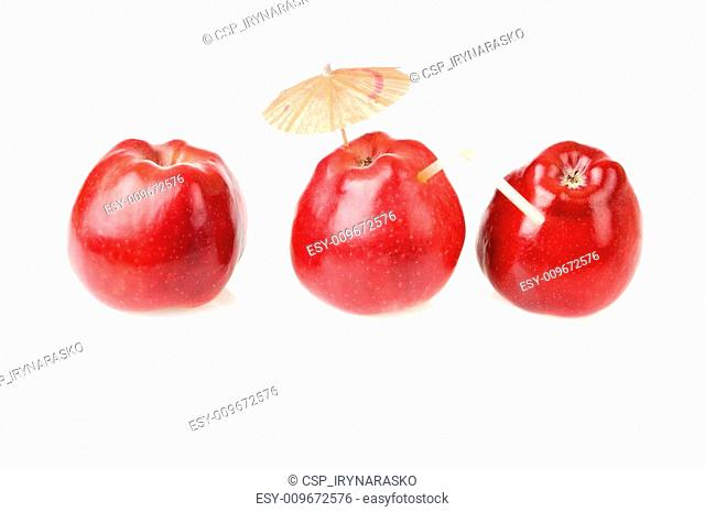 Tree red apples for fresh juice