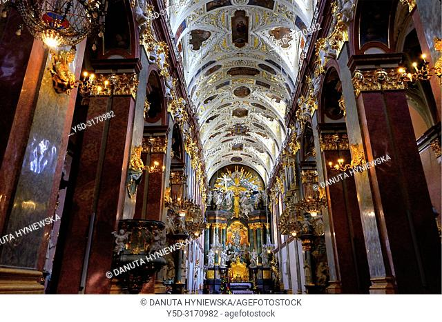 View for main altar in main nave of Basilica, most famous Polish pilgrimage site - Jasna Gora, sanctuary of Our Lady of Czestochowa - Queen of Poland and the...