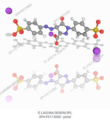 Tartrazine. Molecular model of the synthetic lemon-yellow azo dye tartrazine (C16.H9.N4.Na3.O9.S2), used as a food colouring (E102)