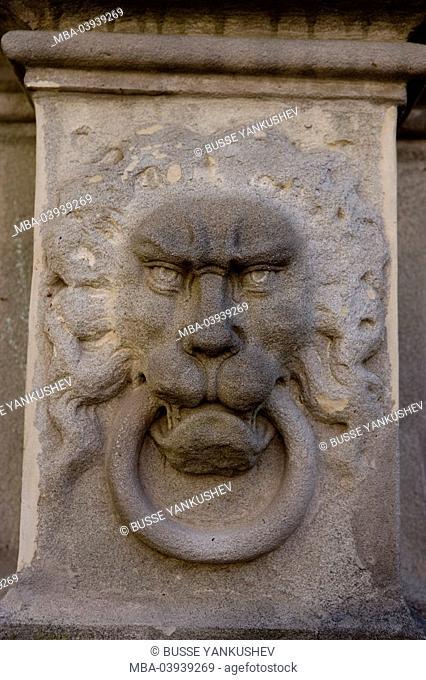 Germany, Baden-Württemberg, Lake Constance-district, Lake Constance, Überlingen, chancellery, entrance, detail, stone-sculpture, lion