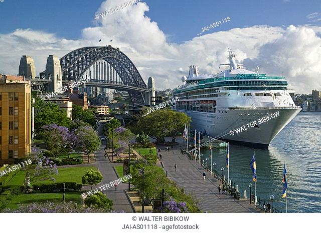 Australia, New South Wales, Sydney, Royal Caribbean Lines 'Rhapsody of the Seas' docked in Sydney harbour