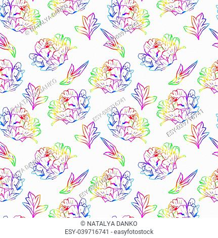 blossoming peony with leafs, seamless pattern isolated on white background