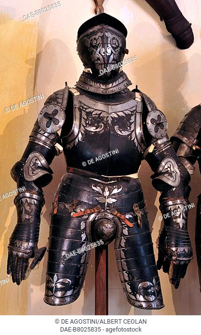 Armor in the Armory of Churburg Castle, the largest private armory in the world, 1260, Schluderns, Bolzano, Trentino-Alto Adige, Italy