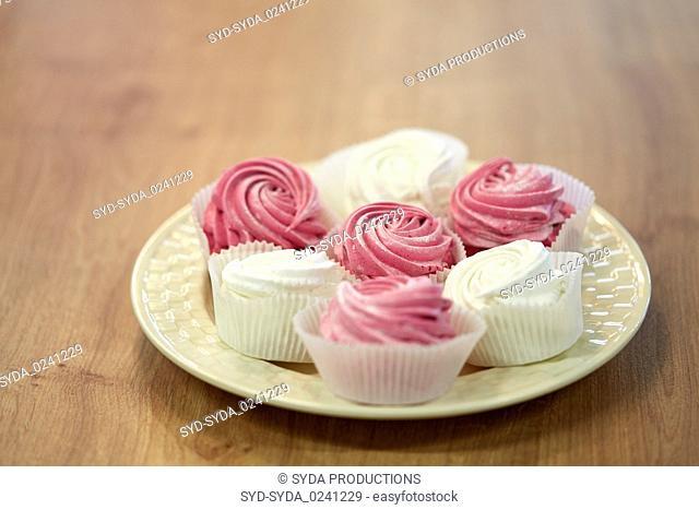 zephyr or marshmallow dessert on plate