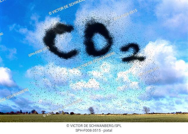 Atmospheric carbon dioxide, conceptual composite image
