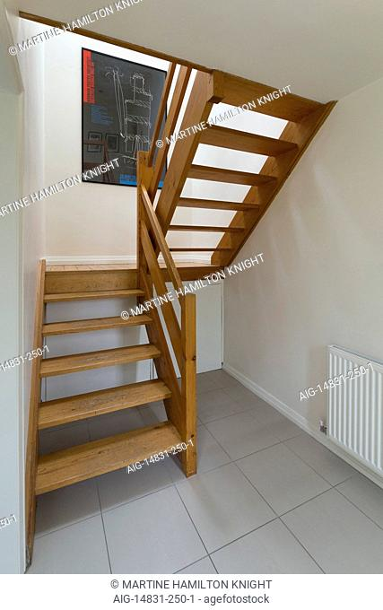 1960's open tread timber staircase, Nottingham, England, UK