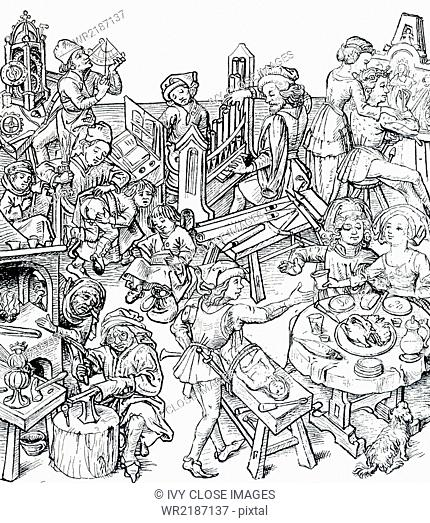 This scene shows daily life in 16th-century Europe, during the time of the Protestant Reformation. It is from the book: Daily Life of the Middle Ages