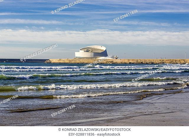 Port of Leixoes new Cruise Terminal building seen from beach in Matosinhos city, bordered with Porto, part of Grande Porto subregion in Portugal