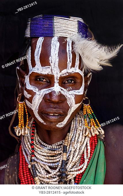 A Portrait Of A Woman From The Karo Tribe, Kolcho Village, Omo Valley, Ethiopia