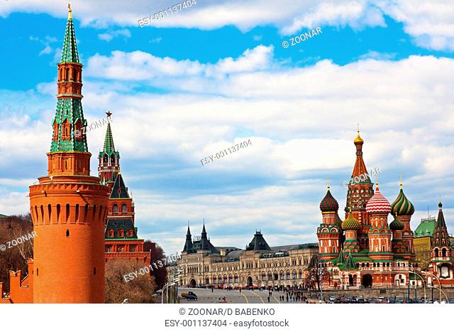 St. Basil's cathedral on Red Square and Kremlin towers in Moscow