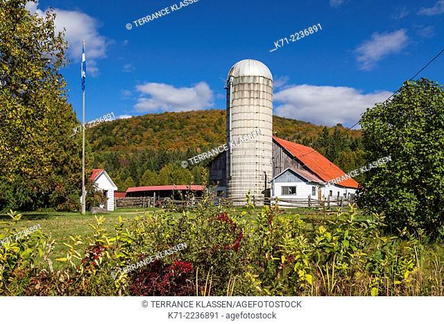 A farm, barn and silo near Brebeuf, Quebec, Canada