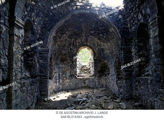 Interior of an ancient chapel on the way to the Sumela Monastery, Sumela, Trabzon, Black Sea region, Turkey