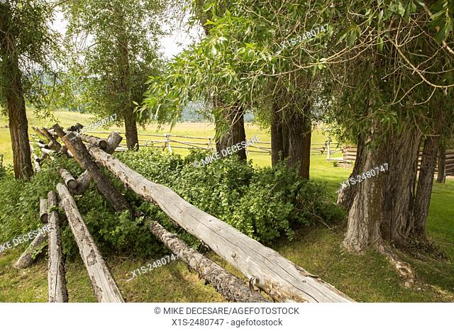 Wooden fence marks a boundary at an old settlement in the Grand Tetons