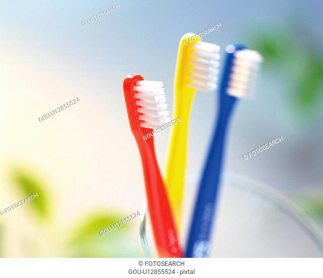 Close Up Image of Three Toothbrushes, Close Up, Differential Focus