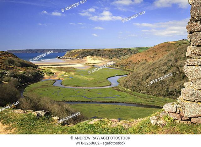 The view from Pennard Castle on the Gower Peninsular in South Wales, captured in mid April, with the beach at Three Cliff's Bay in the distance