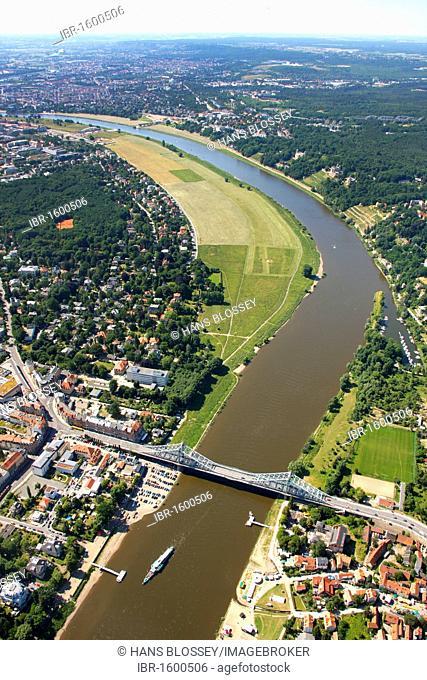 Aerial view, so called Blaues Wunder new Elbe bridge, UNESCO World Heritage Site, Elbe river, Dresden, Saxony, Germany, Europe