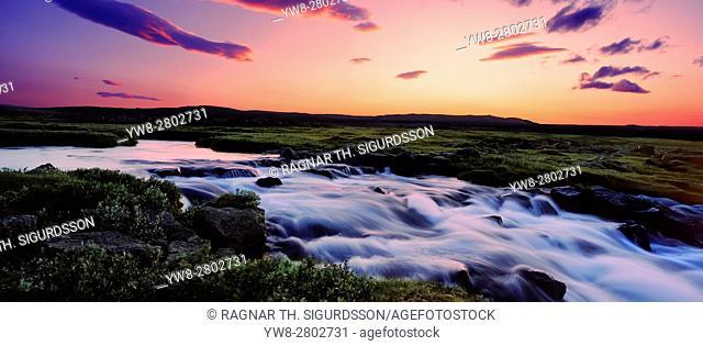 Gaski waterfall, Grafarlandaa river, Central Highlands, Iceland