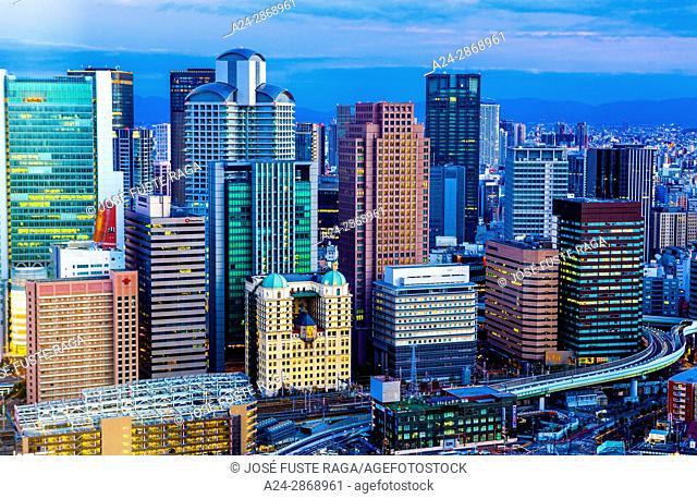 Japan, Osaka City, Umeda District skyline