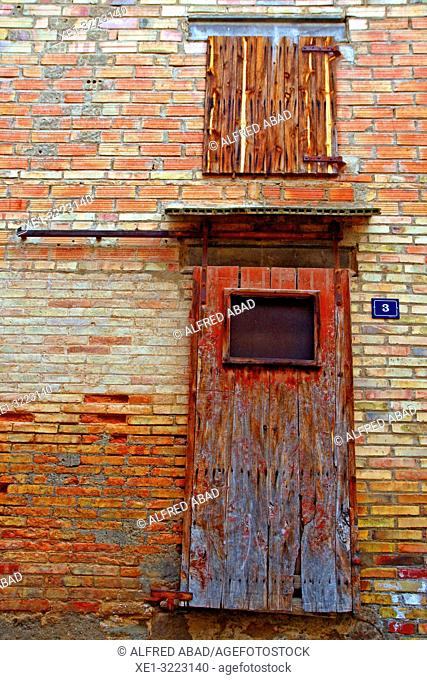 sliding door of warehouse, Linyola, Lleida, Catalonia, Spain
