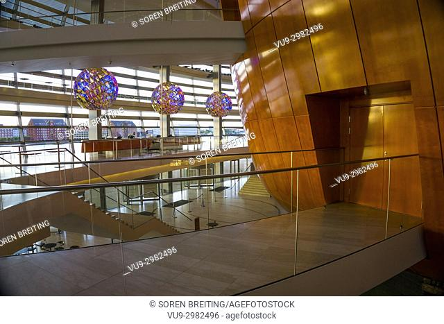 Royal Danish Opera House in Copenhagen, Denmark, foyer, by Henning Larsen Architects - Olafur Eliasson hanging light design