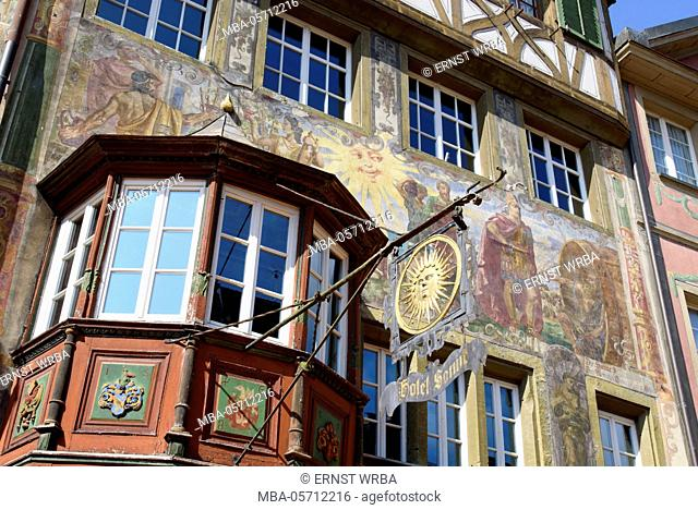 Historical houses in the Town Hall square, Stein at the Rhine, Lake of Constance, Thurgau, Switzerland