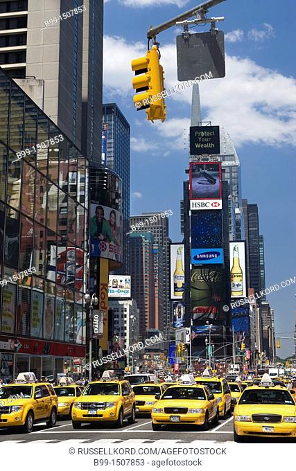 Taxi Cabs Times Square Midtown Manhattan New York City USA