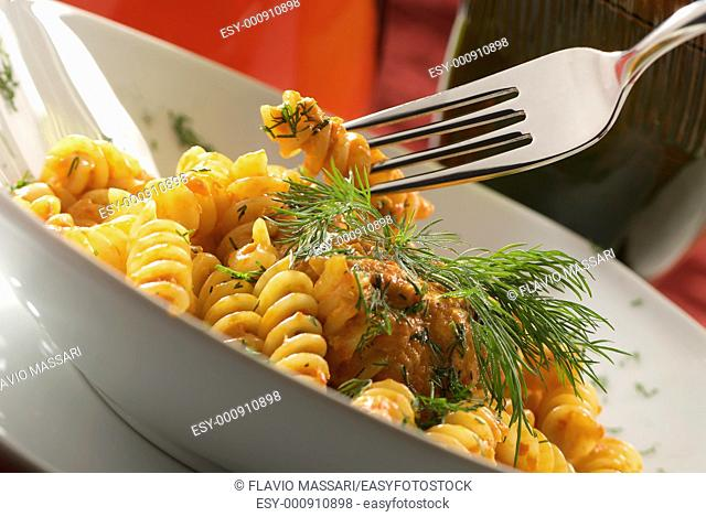 fusilli with tomato sauce and dill