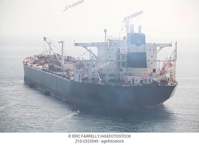 Thick Sea fog off gibraltar Ships at anchor