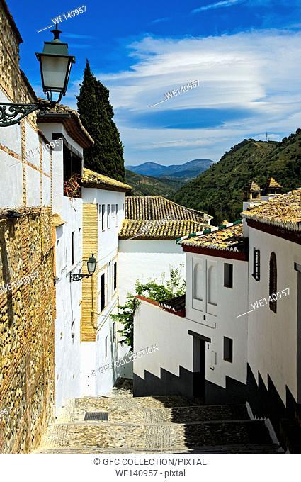 Narrow lanes in the old town district Albayzin, Granada, Spain