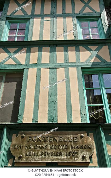 Fontenelle's house, french writer and scientist , 1657 to 1757, half timbered facade, old town, Rouen, Normandy 76, France