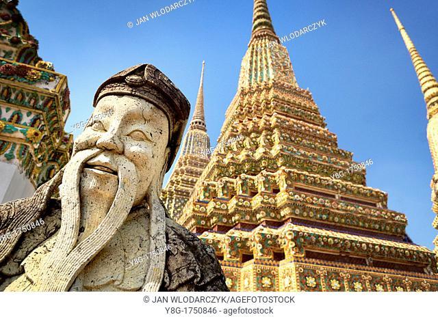 Thailand - Bangkok, Wat Phra Kaeo Temple, Grand Palace, stone statue