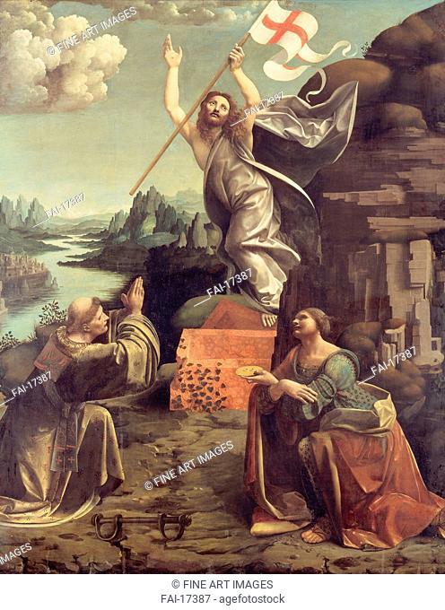 The Resurrection of Christ with Saints Leonard of Noblac and Lucia. Boltraffio, Giovanni Antonio (1467-1516). Oil on wood. Renaissance. ca 1491