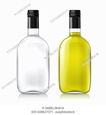 Realistic transparent glass bottles. Set of bottles with a liquid, alcohol, water, syrup, etc. Excellent set of objects. Use this template empty bottles for...